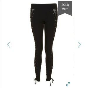 TOPSHOP Lace Up Mesh Sexy Black Legging Pants 10